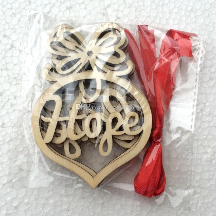 9.7x7.2cm Hollow Letter Christmas Tree Decoration Wood Heart Pattern Christmas Ornament Festival Supplies Tree Hanging Decoration