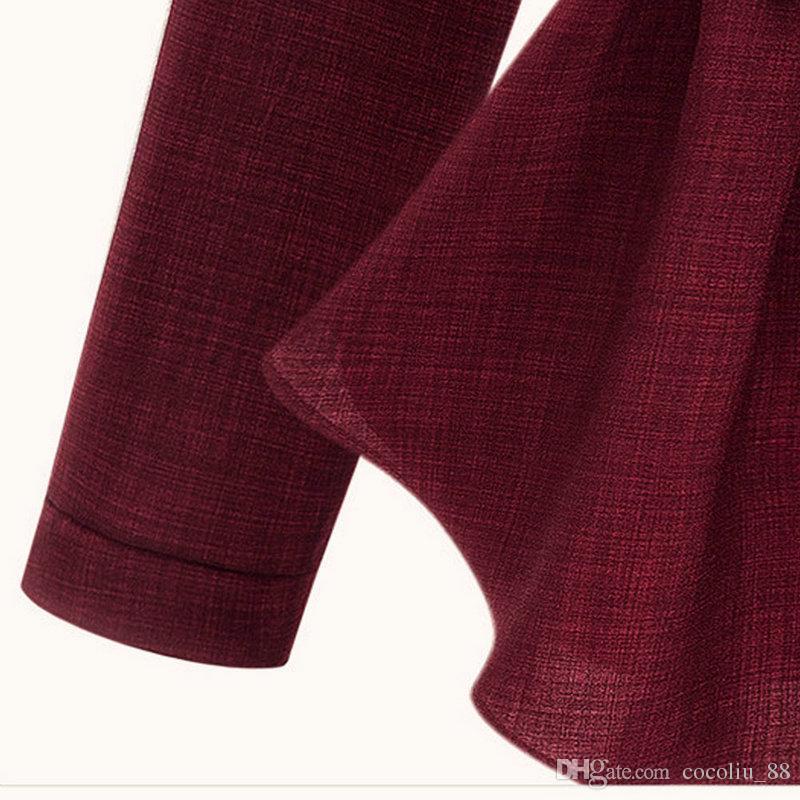 Otoño Primavera Mujeres Blusas Traje Nuevo Tallas grandes 3-5XL Mostrar Cintura delgada Blusa de algodón de manga larga y lino