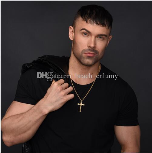 Fashion Cross Pendant Necklace Gold Color dancer rap hip hop Punk Stainless Steel Men link Chain Statement Charm Jewelry gift Accessories