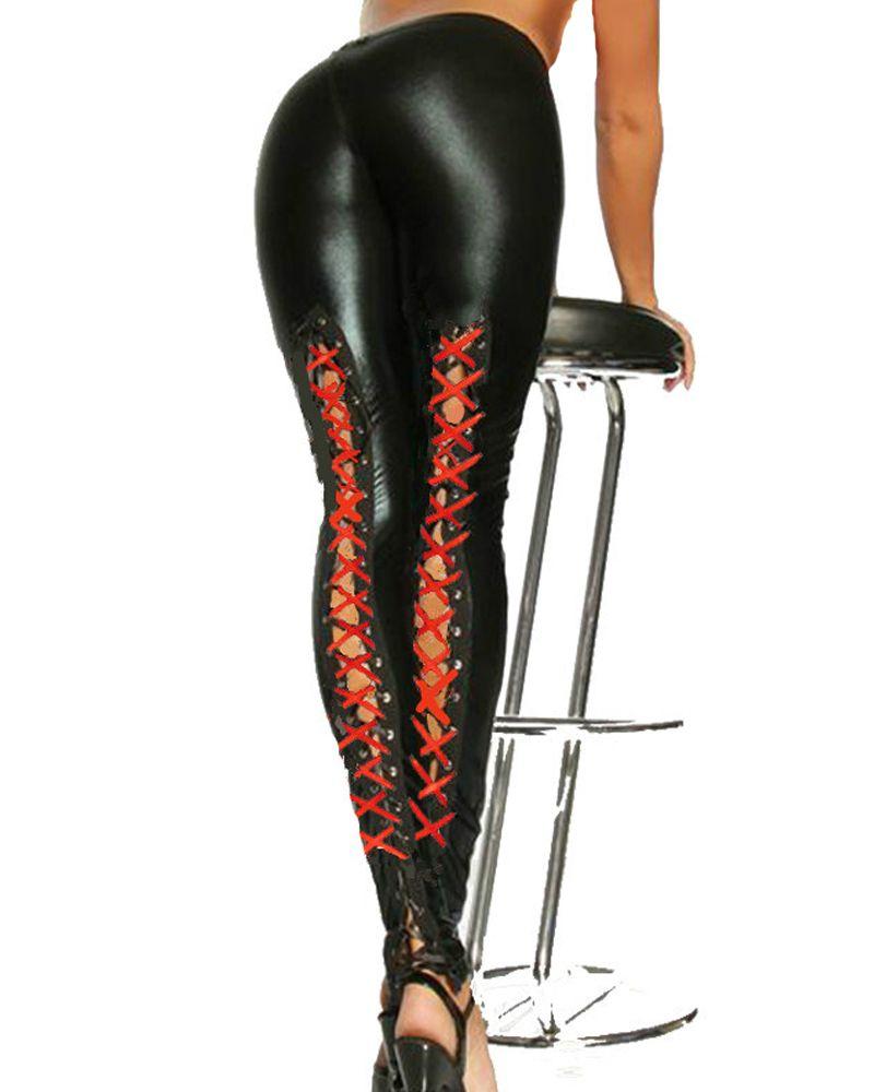 Punk gótico Mulheres Preto Faux Leather Leggings Stretchy cordões Voltar Leggings Calças sexy do pólo roupa dança