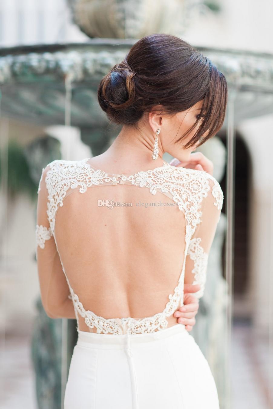 2021 Vestidos De Novia dentelle Berta robes de mariée à col Applique manches longues Vintage Robes de mariée mariée Robe à dos ouvert