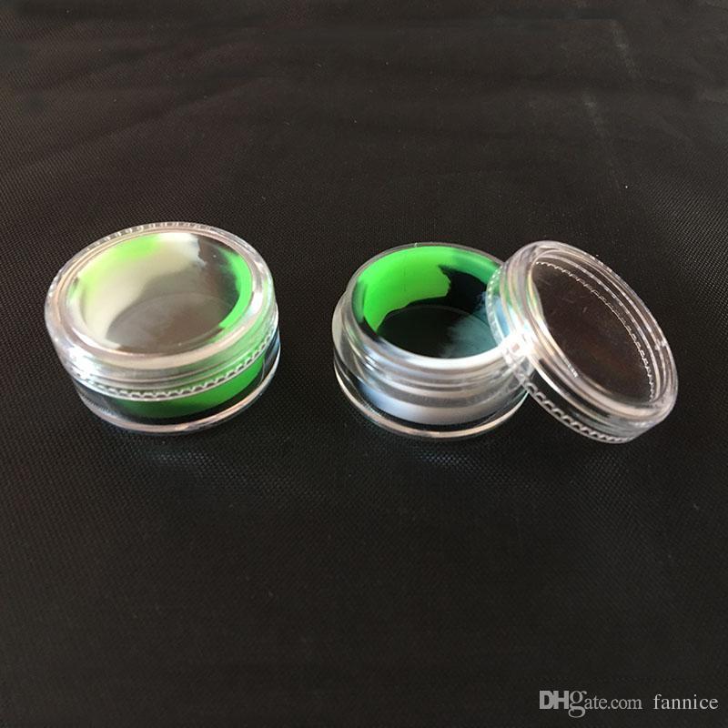 Wax Container Silikonowy Słoik Akrylowy Koncentrat 5 ml DAB pudełko z przezroczystą skrzynką do pojemników naftowych Silicon 10 sztuk / partia