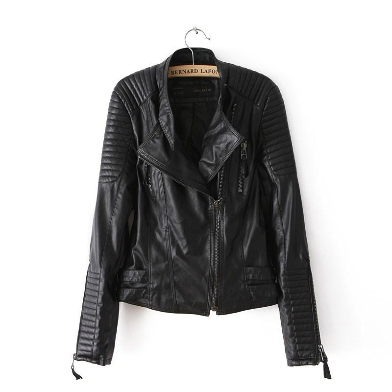 Motorcycle Pu Leather Jacket Ladies Autumn Coat Zipper Cool ...