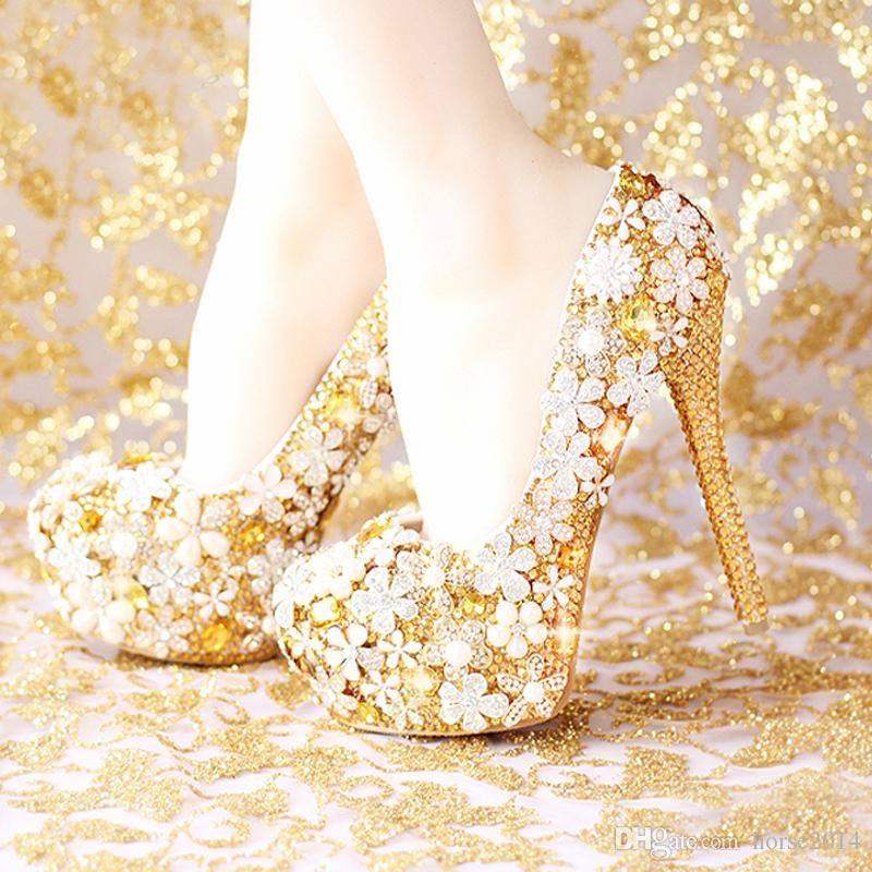 2017 fashion comfortable gold wedding shoes women heel platform 2017 fashion comfortable gold wedding shoes women heel platform high heels rhinestone bridal shoes handmade genuine leather bridal wedge bridalshoes from junglespirit Choice Image