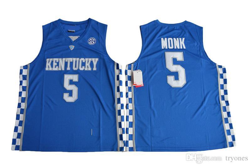 2017 Kentucky Wildcats College Basketball-Trikots 0 De'Aaron Fox 5 Malik Monk 3 Edrice Adebayo 1 Trainer John Calipari-Hemd University Jersey