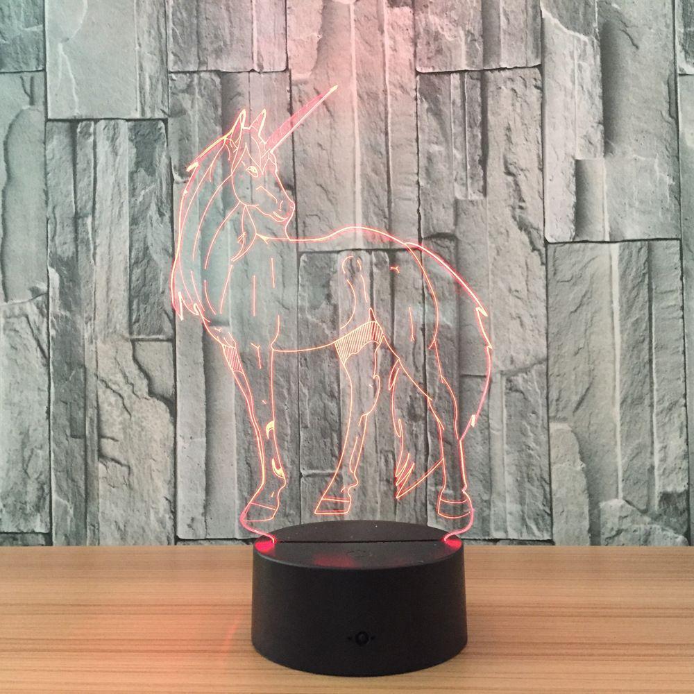 Illusion-Lampen-Nachtlicht 3D Unicorn DC 5V USB, das AA-Batterie-Großhandelsdropshipping auflädt, freies Verschiffen