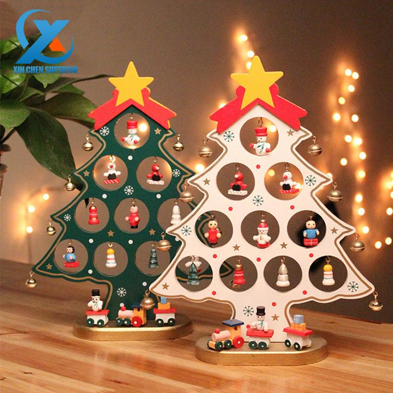 wholesale diy cartoon wooden christmas tree decoration christmas gift ornament table desk decoration fast shipping handmade christmas decorations handmade - Christmas Gift Decorations