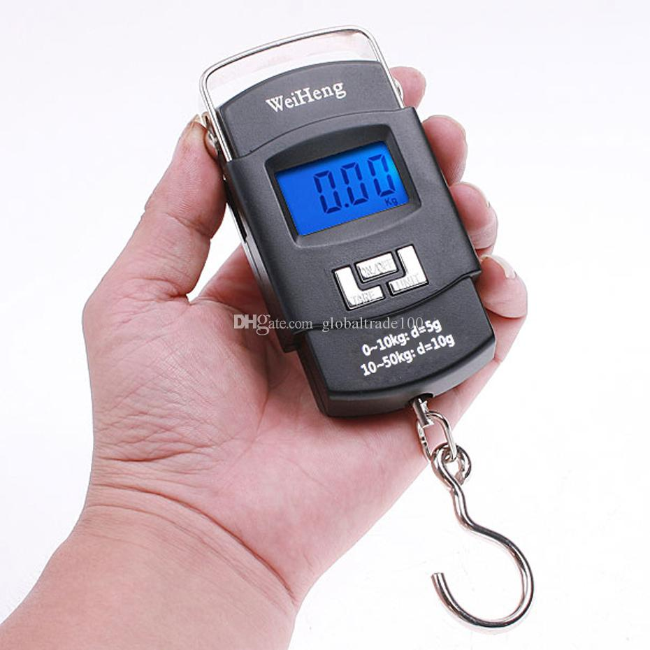 50kg * 10g Mini Digital Scale Hanging Luggage Fishing Weighing Scale Fine Weighing Balance LCD Display with Blue Backlight