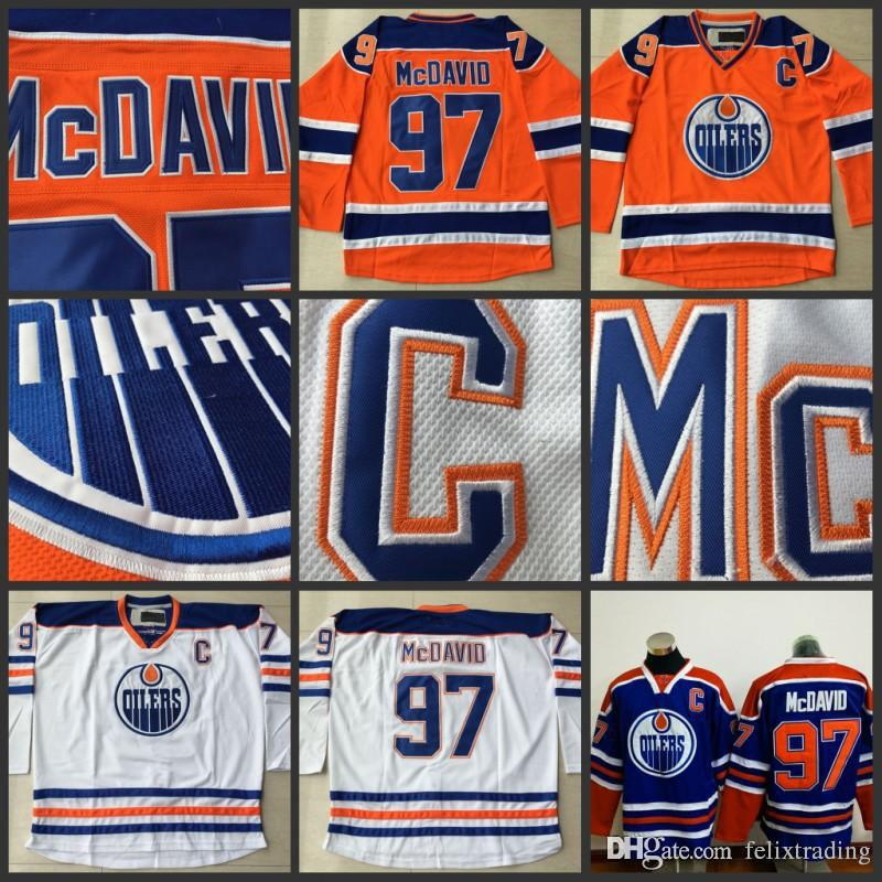 quality design 4d3ca 262c1 Cheap Hockey Jerseys Edmonton Oilers #97 Connor McDavid Jersey Captain C  Patch High Quality Stiched Blue Orange White Free Shipping
