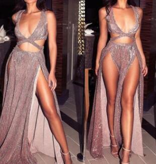2018 Sexy Party Casual Dresses Deep V Sequin Split Clubwear Night Out Long Maxi Dresses Backless Floor Length Formal Long Dresses