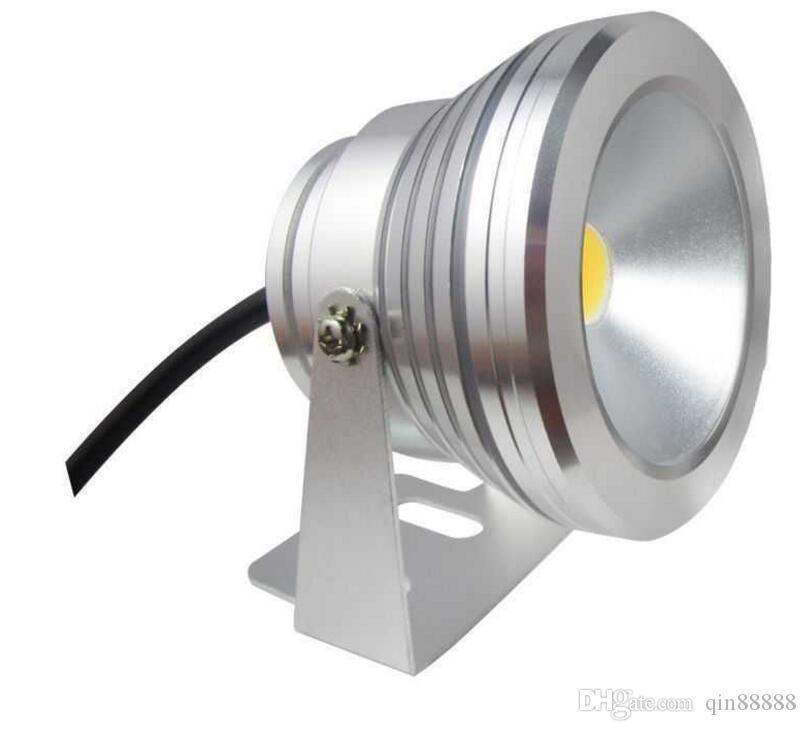 DC 12V 10W RGB LED Reflector Submarino Luces de inundación Piscina Al aire libre Impermeable Caliente / frío Lámpara LED blanca Luz de paisaje redonda