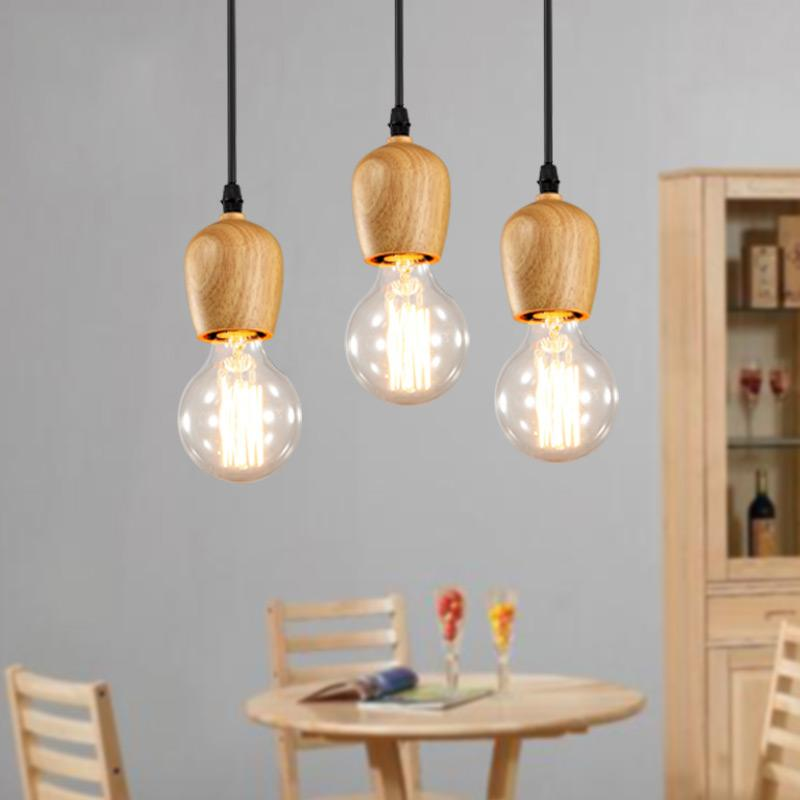 Modern Oak Wood Pendant Lights Vintage Cord Pendant Lamp