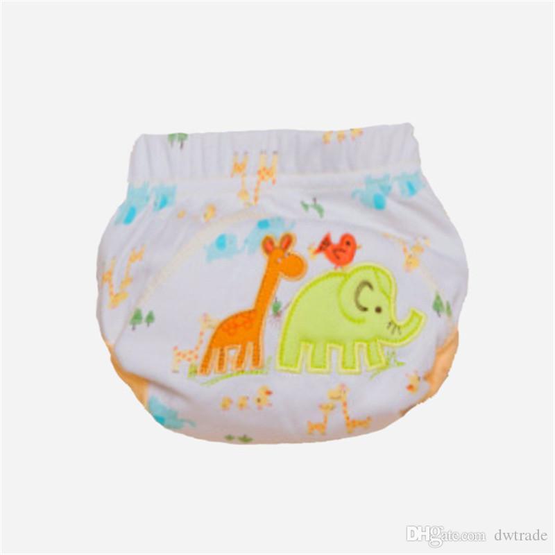 3 camadas dos desenhos animados calças de treinamento do bebê à prova d 'água fralda pant potty calcinha da criança recém-nascido underwear reutilizável calças de treinamento