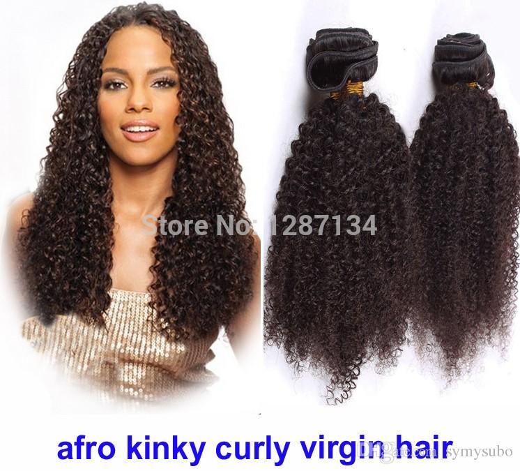 Capelli di colore naturale tesse grado 5a + non trasformati vergine brasiliana afro crespi capelli ricci 1 pz / lotto 100% capelli remy brasiliani umani