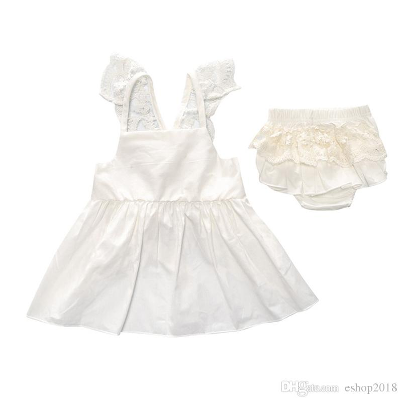 Hot Sell Baby Kids Clothing Adorable Girls Clothes Princess White Blue Dress + PP Pans Sets Babies Tops Pants Outfits