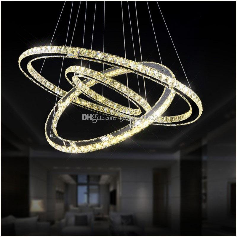 현대 DIY K9 크리스탈 샹들리에 LED 라운드 서클 펜던트 조명 3/2 반지 매달려 램프 광택 스테인레스 스틸 주방 샹들리에