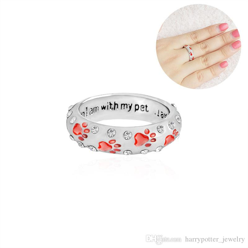 Crystal Rings When I Am with My Pet Letter Black Red Enamel Dog paw footprints Finger Ring Nail Ring for Women Jewelry Drop Ship 080157