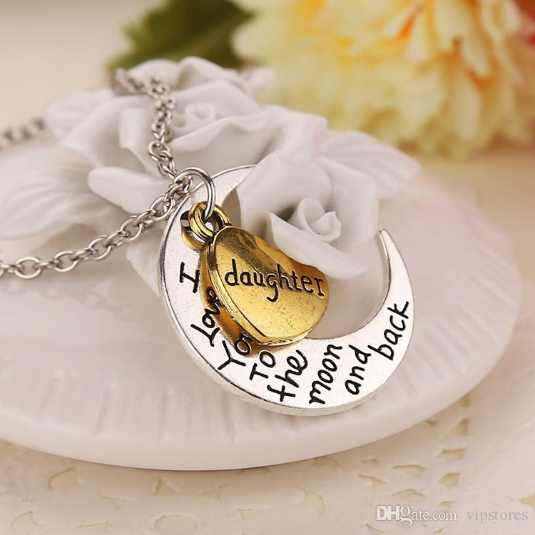 moon heart necklace pendant I Love You To The Moon and Back Pendants Necklaces Dad Mom Brother Sister charm Necklace gifts