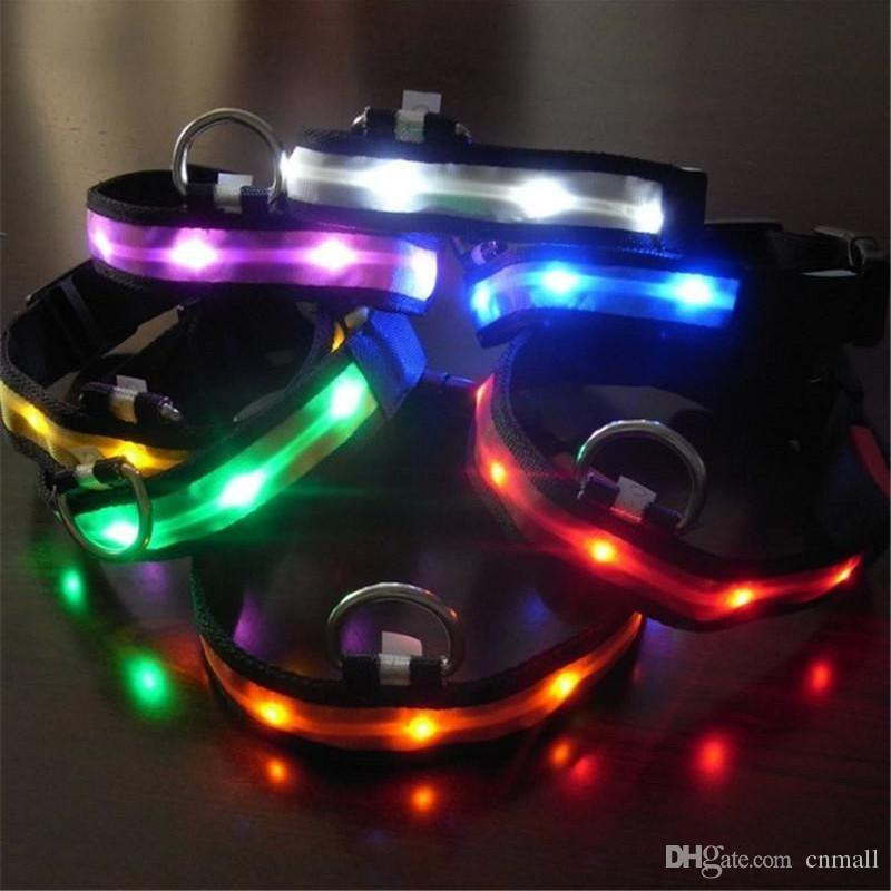 Pet Dog Collar LED Flash Collars Dog Cat Collars Flashlights Dibo America Huskies Teddy Large Dog Collars S M L XL Emitting LED Pet Supplies