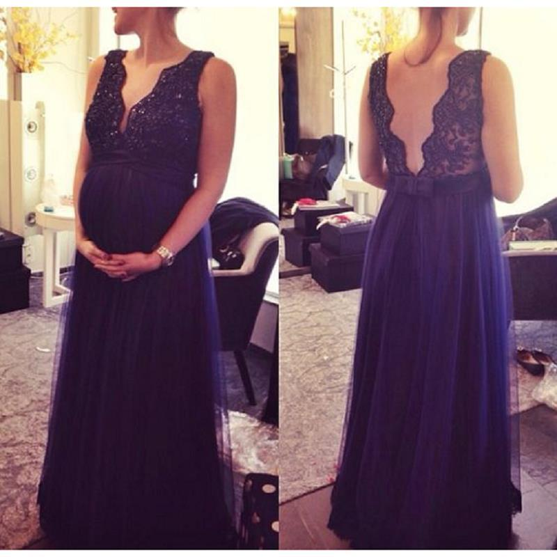2018 New Dark Navy Blue Maternity Evening Gowns Dresses V Neck Open ...