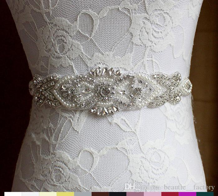 Ceinture de mariée brillant mariage strass en fausse perle princesse Sashes robe d'honneur robe de demoiselle d'honneur accessoires de mariage multicolore ruban BW54