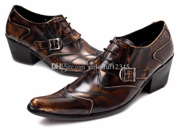 Negro marrón Mans estilo británico zapatos de vestir tamaño 38-46 botas de otoño de tacón alto zapatos Oxford de alta calidad para hombre envío gratis
