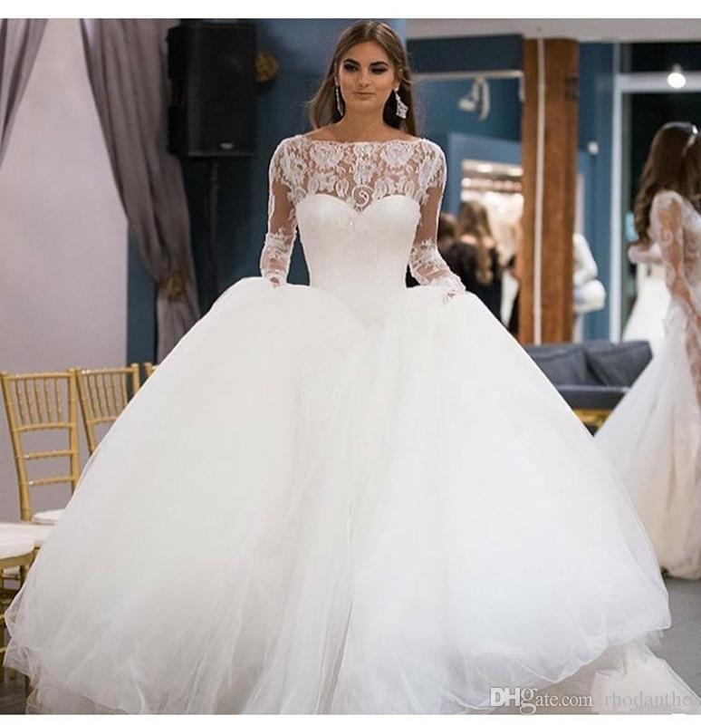 Eye catching ball gown wedding dresses lace top long sleeve zipper eye catching ball gown wedding dresses lace top long sleeve zipper back pleats tulle lace with little sequins formal gowns gold dresses from rhodanthe junglespirit Gallery