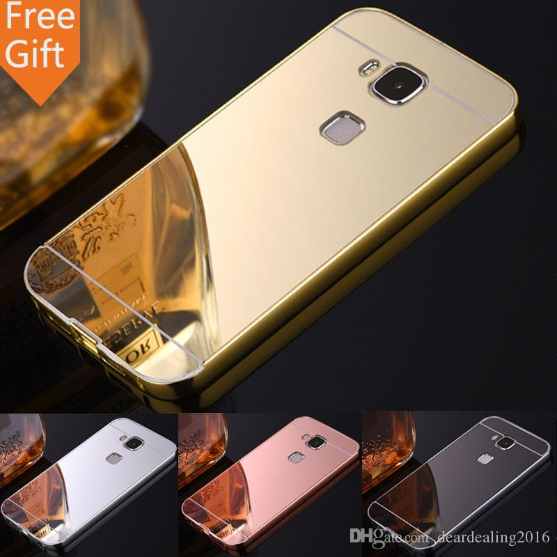 new concept 28062 06cad Hot Phone Cases For HUAWEI G8 Luxury Plated Aluminum Metal Frame Acrylic  Mirror Back Cover For Huawei G7 Plus Case Huawei GX8 D199