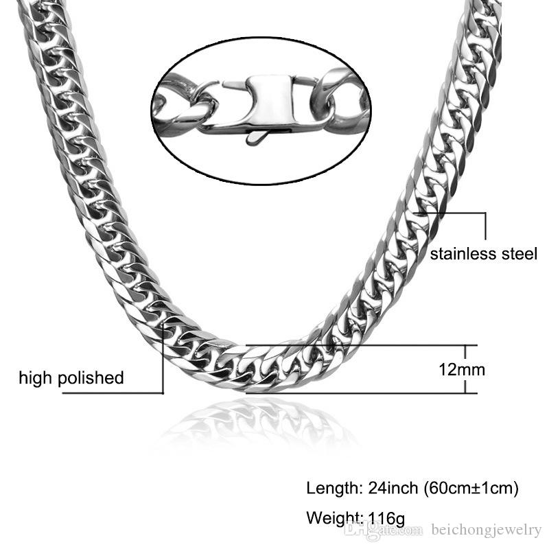 Beichong Gold ,silver Stainless Steel Necklace Curb Cuban Link Silver Color Mens Chain Fashion Jewelry KNM07