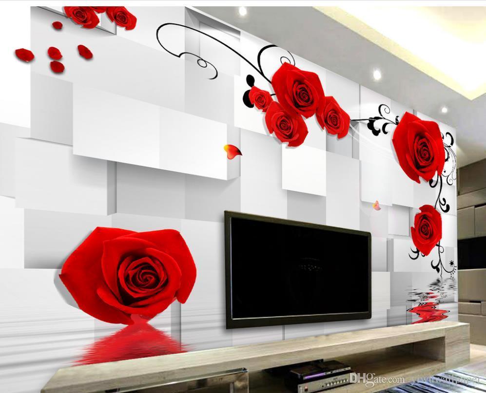 carta da parati classica pareti carta da parati personalizzata 3d Carta da parati 3d del bagno della scatola di contesto stereoscopica romantica della rosa 3D