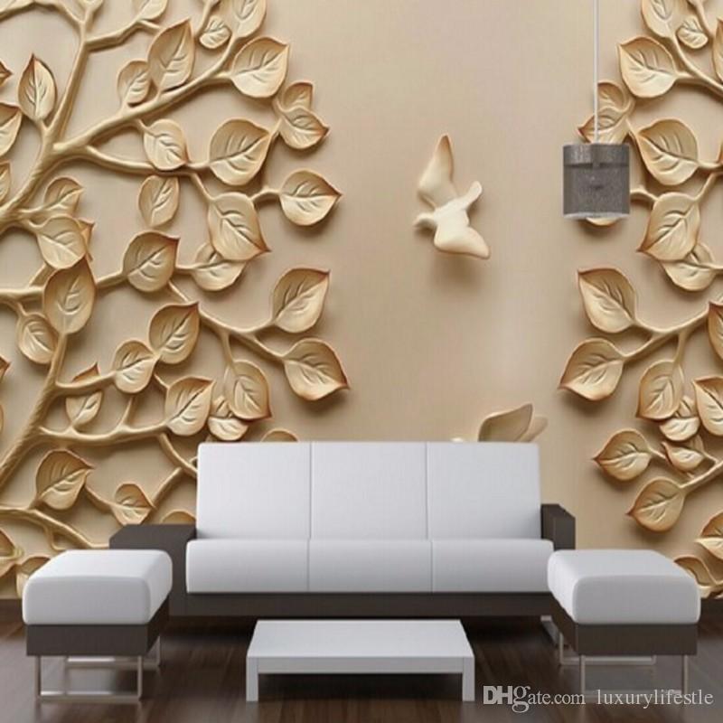 3d Hd Golden Leaves High Quality Custom Living Room Restaurant Bedroom Mural Stereo Wallpaper Widescreen Resolution Wallpapers Mobile