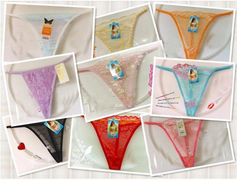 Mulheres Sexy Lace Underwear G Tangas de Corda Calcinhas T Voltar LINGERIE Senhora Floral Multicolor Bikini Panty Barato