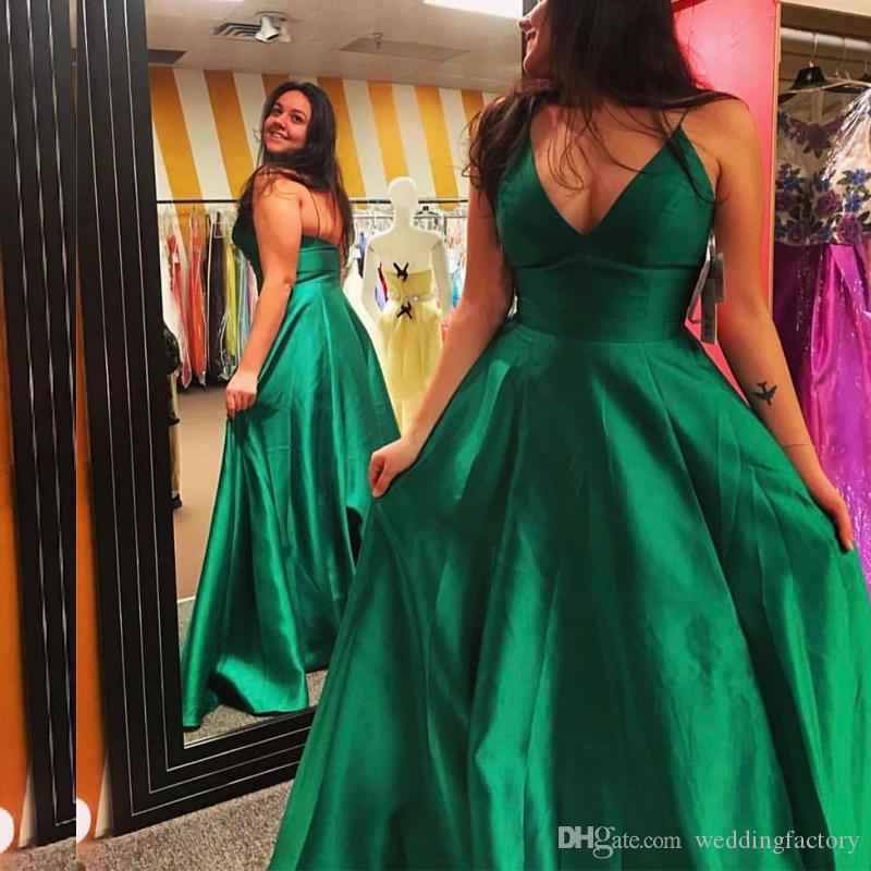 1d5c3227372 Emerald Green Prom Dresses New Arrival Plus Size Spaghetti Straps  Sleeveless Simple Elegant Evening Party Gowns Custom Made Designer Gowns  Online Dress ...
