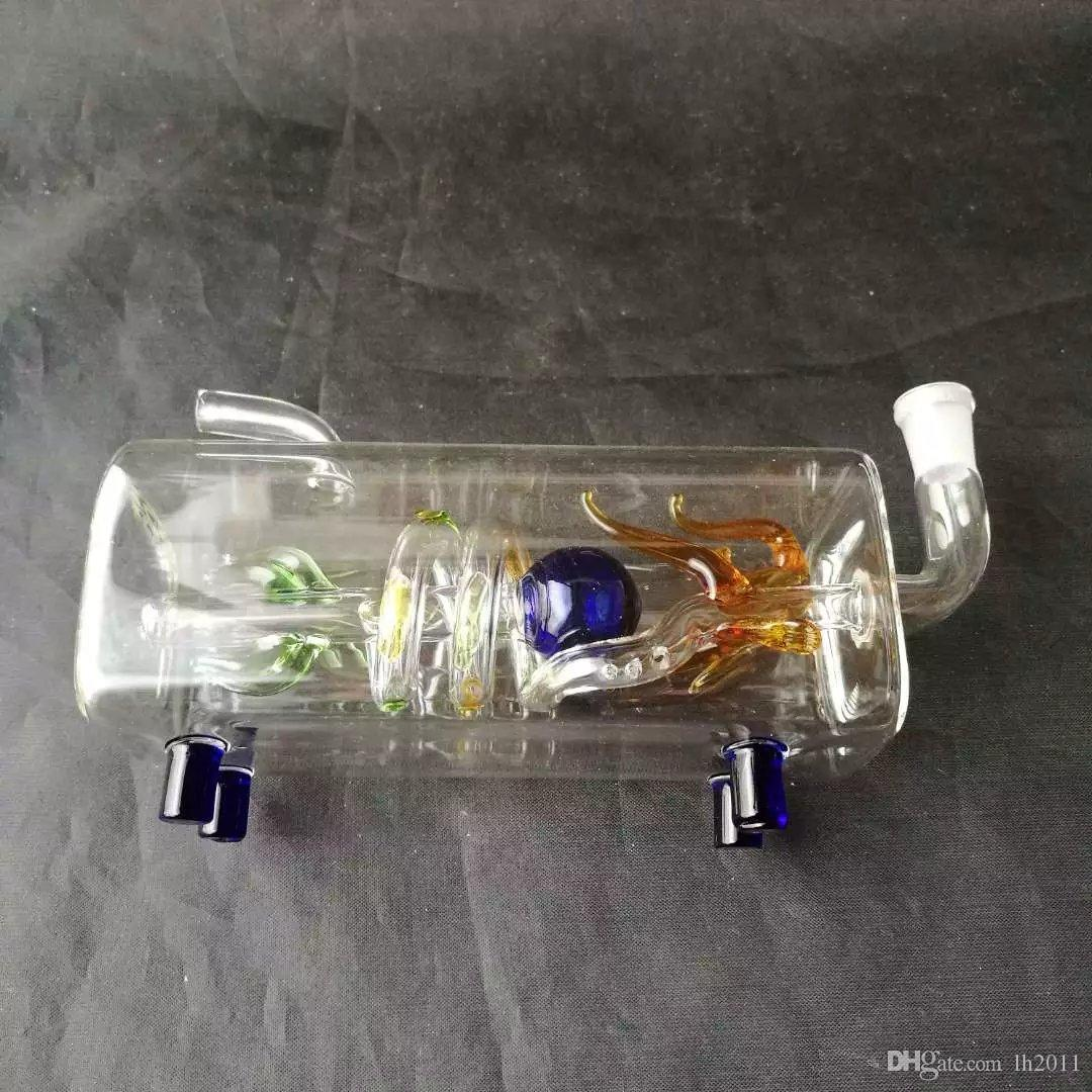 Cachimba de cristal horizontal de la cacerola del dragón del tubo, Bongs de cristal al por mayor, tubos de agua de cristal de la hornilla de aceite, accesorios del tubo de humo