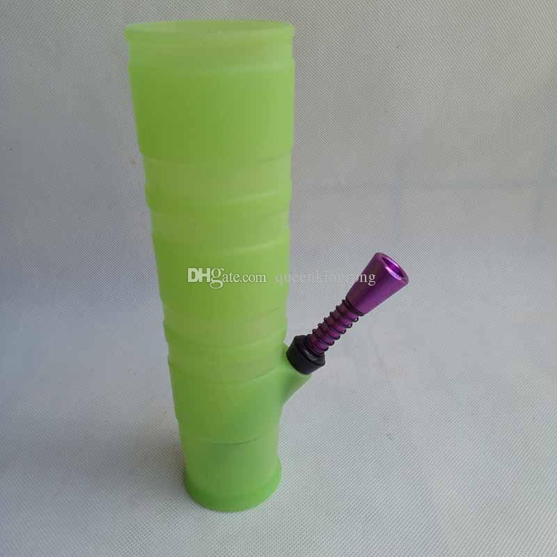 휴대용 물 담뱃대 실리콘 물 봉지 흡연 마른 허브 깨지지 않는 허브 퍼콜 레이터 필터 담배 파이프 오일 장비 6 색