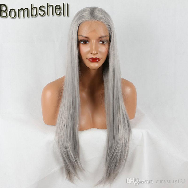 Bombshell Natural Density 18-26 Inch Silver Grey Straight Synthetic Lace Front Wig Heat Resistant Middle Part For Women Wigs