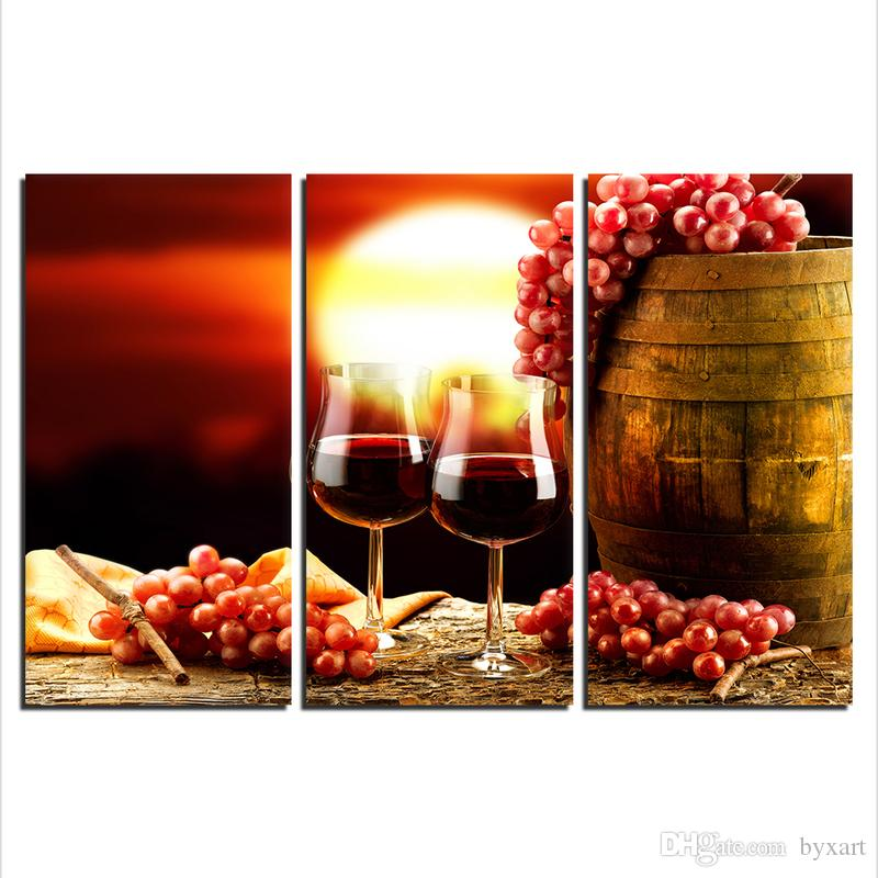 exceptional Kitchen Canvas Wall Art Part - 18: 2019 Kitchen Canvas Art, Red Wine Bottle Canvas Wall Art Painting 3 Panel  Large Canvas Art Print For Living Room Bedroom Kitchen Wall Decorations  From ...