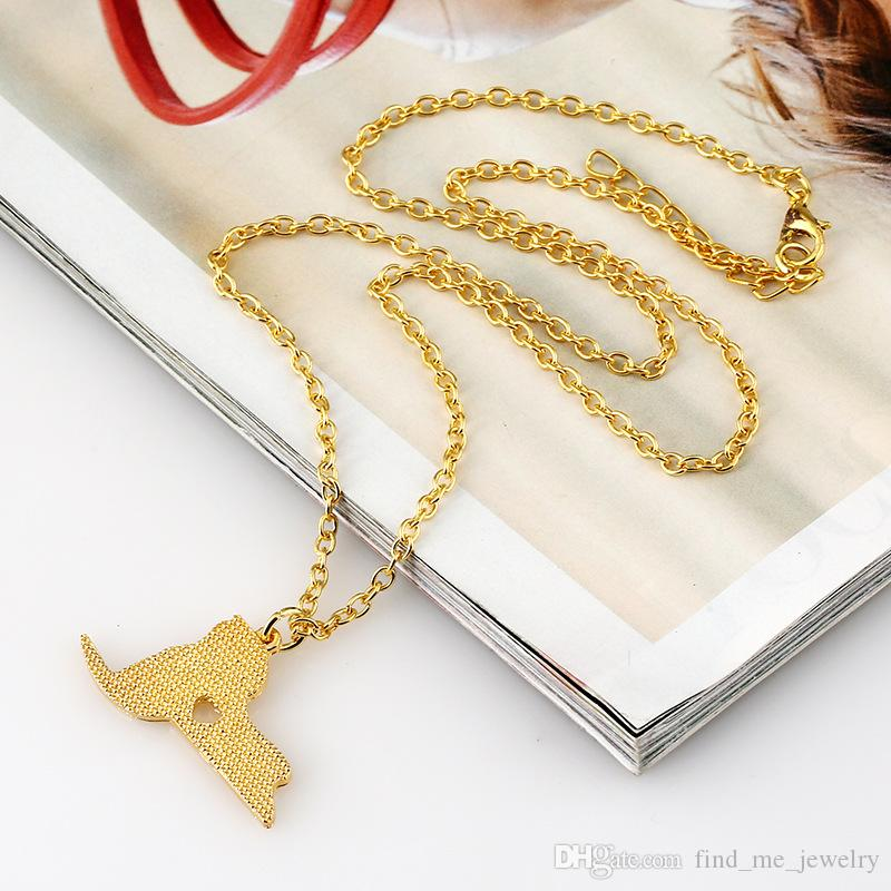 Ethnic America New York Map Long Necklace Men Vintage Statement Chain necklace 2017 Punk Maxi Christmas Pendant Necklaces for Women Jewelry