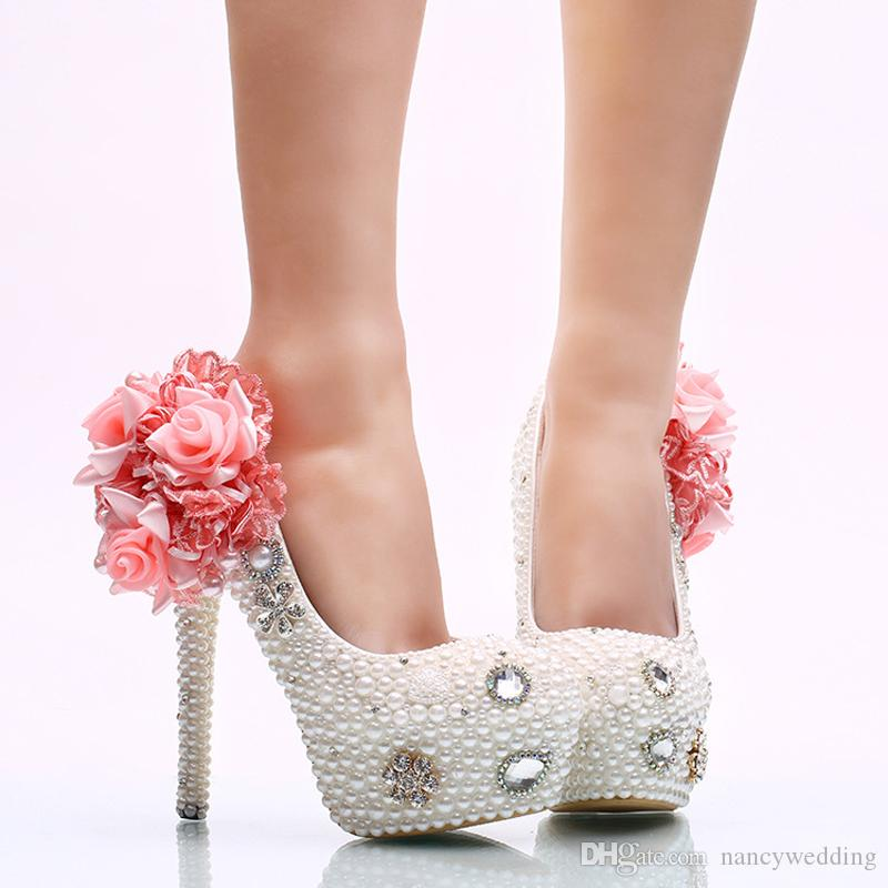 White Pearl Wedding Shoes With Pink Appliques Bride High Heel Shoes  Handicraft Women Party Prom Shoes Plus Size 11 And 12 Bridal Shoes Size 12  Bridal Shoes ...
