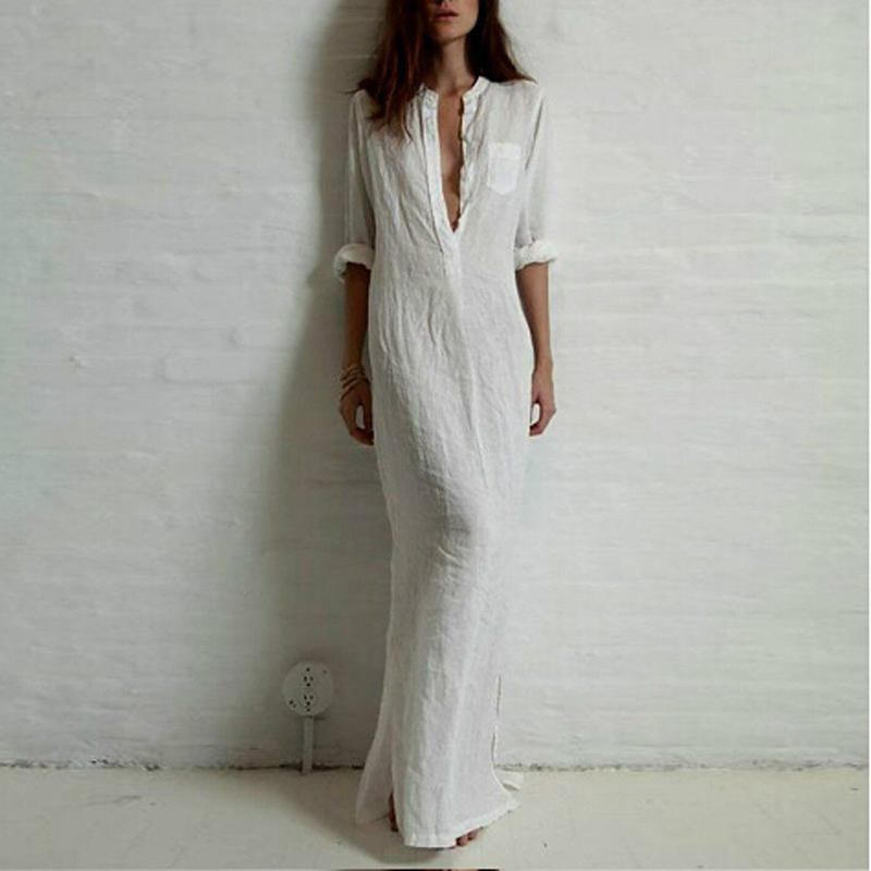 d75b21146a 2019 Wholesale 2016 Long Women Dresses Shirt Maxi Dress Women Linen And  Cotton Casual Vintage Split Vestidos Summer De Festa White Dress From  Avive
