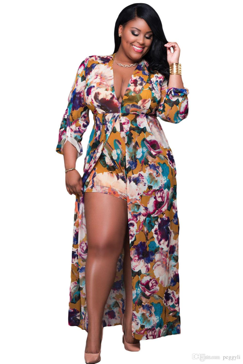 2018 Plus Size Long Sleeved Floral Romper Maxi Dress 2017 ...