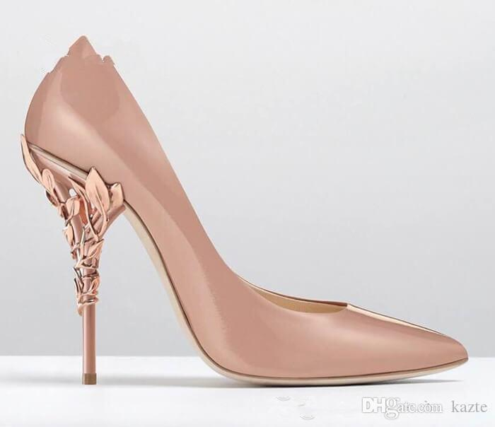 Kadınlar abiye ayakkabı Katı Eden Topuk Pompa Süper seksi kadın düğün ayakkabı Süslü Telkari Yaprak Sivri Burun Haute Couture AYAKKABI