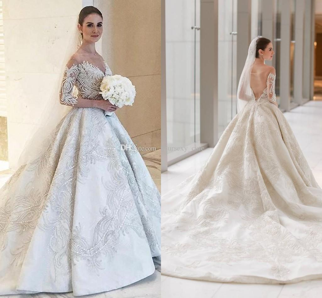 Long Sleeves Ball Gown Wedding Dresses 2017 Vintage Sheer Neck Off ...