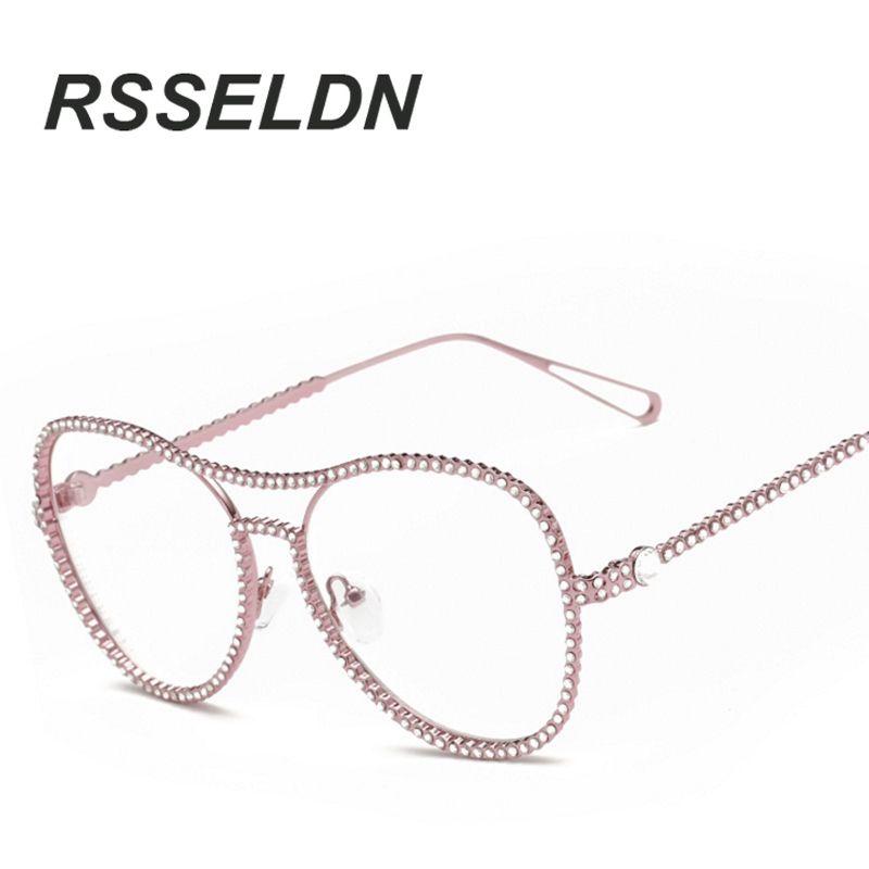 087b42f7527 Wholesale- RSSELDN Retro Glasses Frame Of High-Grade Metal Set Auger ...