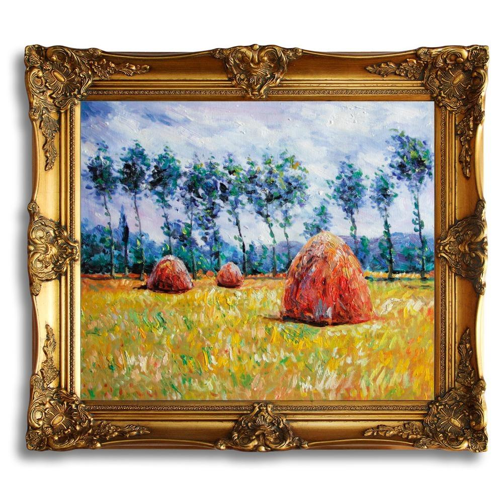 Landscape Art Haystacks Frame Oil Painting at Giverny I Claude Monet ...