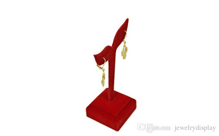 Frete Grátis Titular Display de Jóias De Veludo Vermelho de Casamento Brinco Display Rack Stud Organizador Stand 5 * 5 * 12 CM