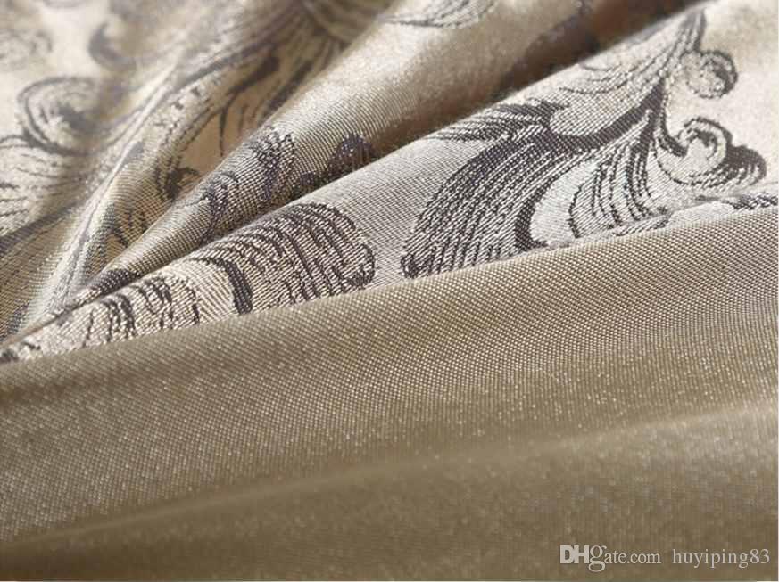 Altın Gümüş Kahve Jakarlı Lüks Yatak Seti Kraliçe / Kral Boyutu Leke Yatak Seti 4/6 adet Pamuk Ipek Dantel Yorgan Kapak Setleri Çarşaf Ev Tekstili