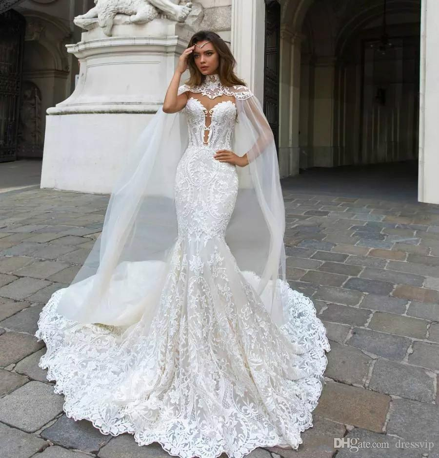 2018 Gorgeous Mermaid Lace Wedding Dresses With Cape Sheer Plunging Neck Bohemian Wedding Gown Appliqued Plus Size Bridal Vestidos De Nnovia