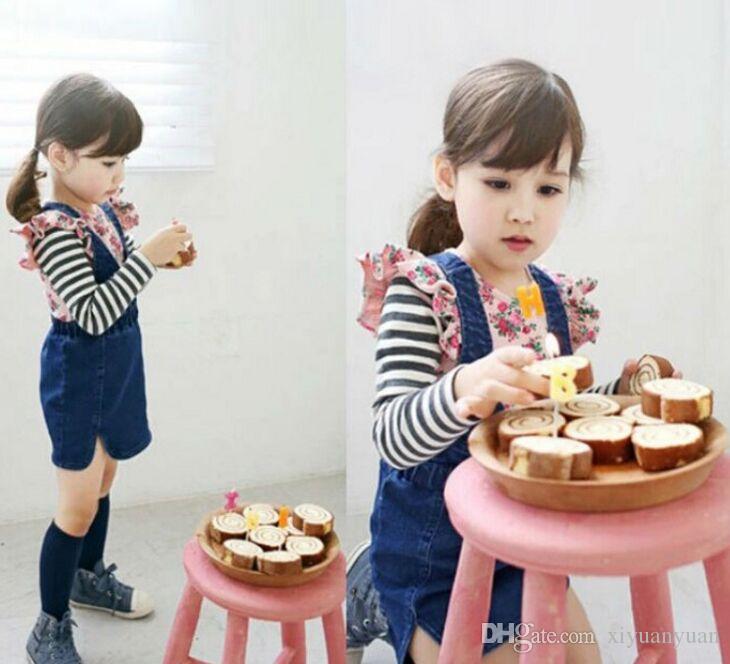 Camisa de manga comprida + cintas saia Two-piece denim saia de manga comprida de algodão Stripe T-shirt e macacões vestidos de roupas meninas bonitos ternos