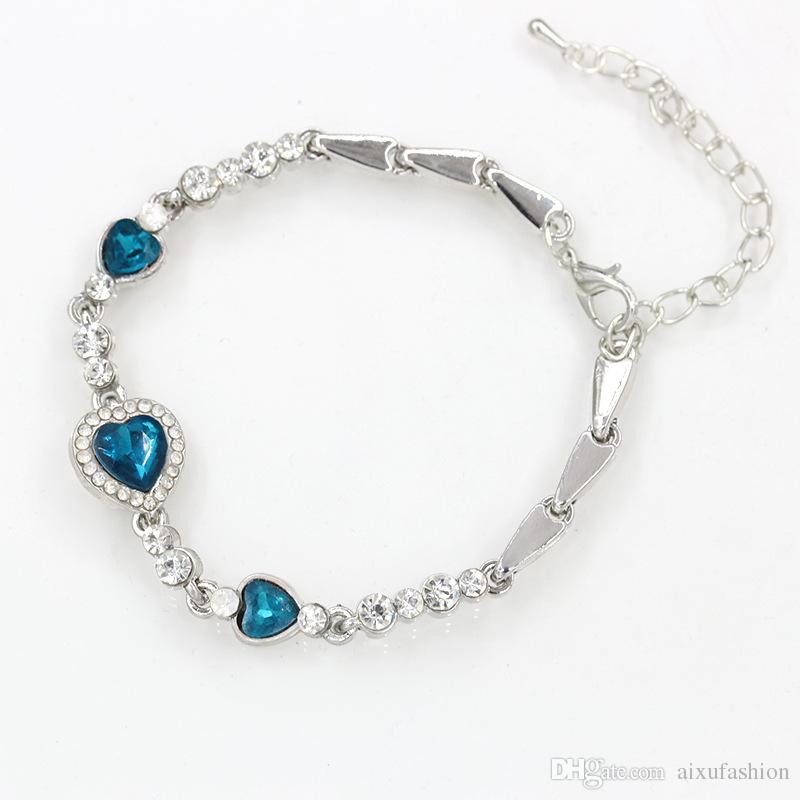 Fashion Ocean Heart Crystal Bracelet Women Jewelry Accessories Radiation Protection Alloy Bangle Bracelets Hot Selling Link Chain